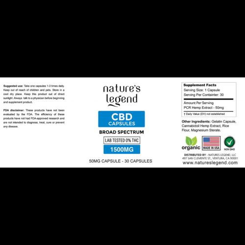 CBD Capsules Broad Spectrum Label