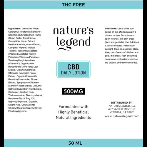 CBD Daily Lotion Label