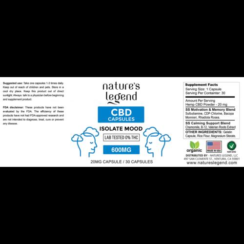 CBD Isolate Mood Capsules Label